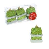 Ёлочные игрушки домик с блёстками зелёный, (набор 3 шт)