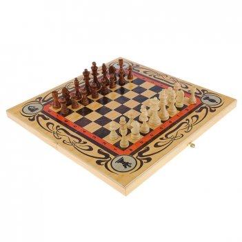 Подарочный набор игр шахматы нарды, шашки с доской статус (sa-sh-011)