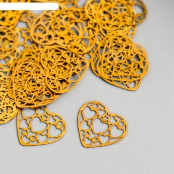 Декор для творчества металл сердце из сердец золото 1,4х1,4 см