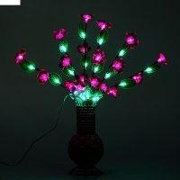 Светодиодная ваза плетенная 60х16, 36 led, цветы фиолетовые (ваза - цвет м