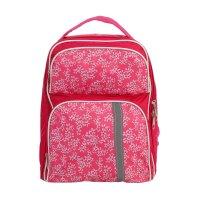 Рюкзак школьный на молнии белые цветы, 2 отдела, 2 наружных кармана, розов