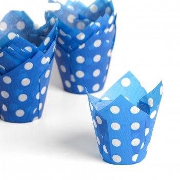 Форма для выпечки тюльпан, синий в белый горох, 5 х 8 см