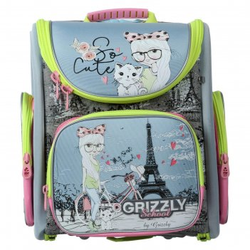Ранец стандарт grizzly rar-080 37*34*18 дев, голубой/розовый/серый rar-080