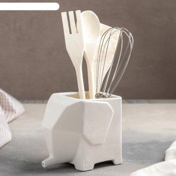 Набор кухонный «эстет. слонёнок», 5 предметов: подставка, лопатка, вилка,