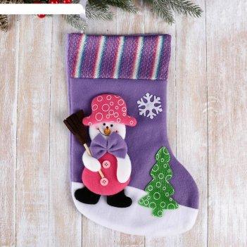 Носок для подарков 34*22 см снеговик с метлой