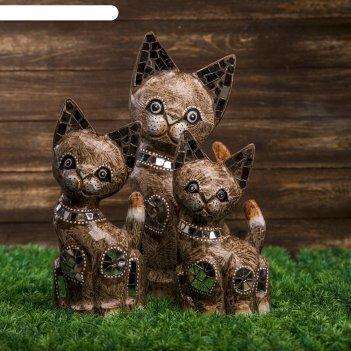 Сувенир дерево кошки с зеркальными вставками мокко набор 3 шт h=25, 30, 40