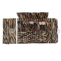 Набор для макияжа зебра, 12 предметов, футляр на замке, бежево-черный
