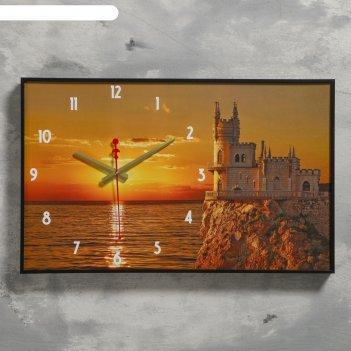 Часы настенные, серия: природа, закат, 1 аа, плавный ход, 37х60 см