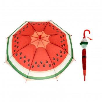 Зонт детский полуавтоматический арбуз, со свистком, r=39см, цвет красный