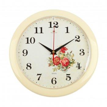 Часы настенные круглыерозы, белый обод, 23х23 см рубин