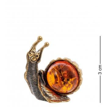 Am-2243 фигурка улитка ажурная мал. (латунь, янтарь)
