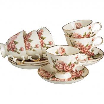 Чайный набор на 6 персон 12 пр.букет роз под.упа...