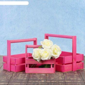 Набор кашпо модерн 3 в 1, из массива сосны, деревянная ручка, розовый