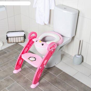 Сиденье на унитаз пингвин, цвет розовый