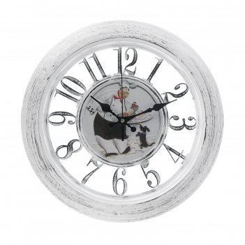 Часы настенные, серия: кухня, поварёнок, круглые, прозрачные, рама белая,