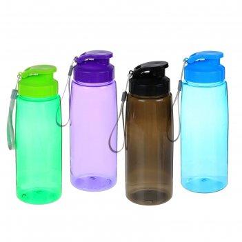 Бутылка для воды 1000 мл, спортивная, со шнурком, микс, 7х22.5 см