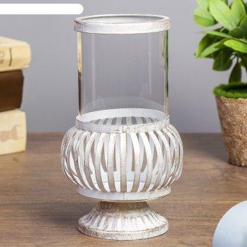 Подсвечник металл, стекло 1 свеча офелия золотая патина 16х10х10 см