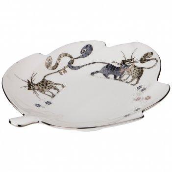 Блюдо котики, длина 21 см. 22*17,5см