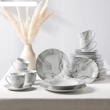 Сервиз столовый «мрамор», 24 шт: тарелки 19 / 21x3,5 / 24 см, чайная пара