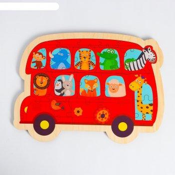Пазл - вкладыш в рамке автобус с животными 32х23 см  rd018