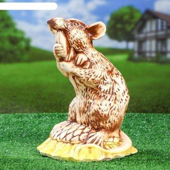 Фигура садовая крыса на подсолнухе 36 см