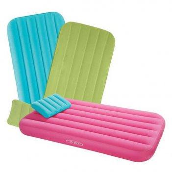 Матрац-кровать надувной, в наборе с подушкой, 3 цвета в ассортименте