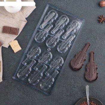 Форма для шоколада 12 ячеек скрипка 33x16,2x2,6 см