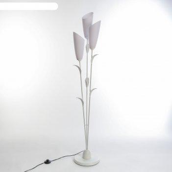 Торшер лепесток 3x15вт e27 белый 28х28х153 см.