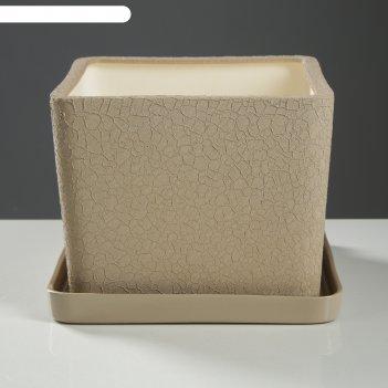 Горшок для цветов квадрат 5,5 л, шёлк, капучино