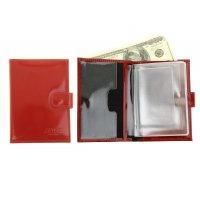 Бумажник водителя натуральная кожа, красный гладкий