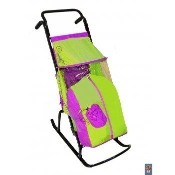 Санки-коляска снегурочка 2-р1 снежинки сиреневый-салатовый
