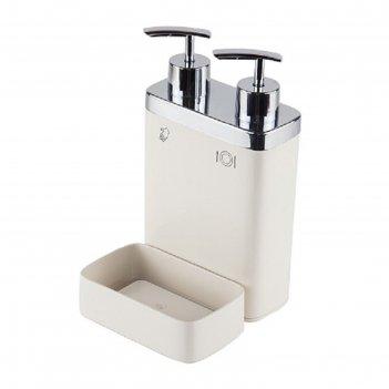 Дозатор для жидкого мыла с секцией для губки viva, секции 300/600 мл, цвет