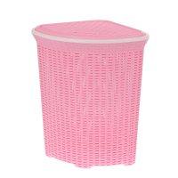 Корзина для белья угловая с крышкой 60л ротанг розовый