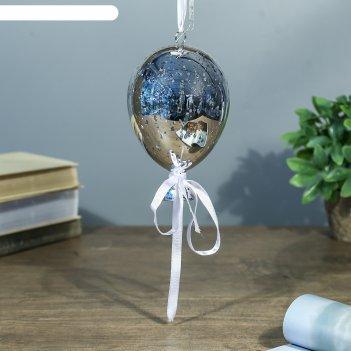 Ночник воздушный шар серебро от бат в компл 9,5х9,5х15 см