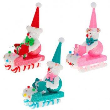 Новогоднее украшение снеговик, 25 см, 3 в.