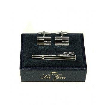 Подарочный набор la geer: заколка для галстука, запонки 7*3*10см