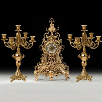 Часы каминные ажур с канделябрами на 5 свечей, набор из 3 предм.