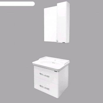 Зеркало-шкаф comforty «неаполь-65», белый глянец