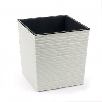 Пластиковый горшок с вкладышем «юкка джуто», 40х40 см, цвет крем
