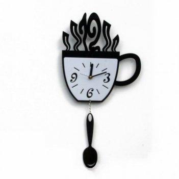 Часы настенные чашка и ложка cl152 44х22см черные