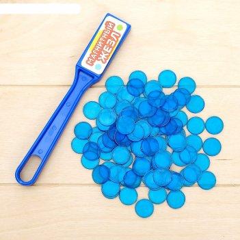 Магнитн. игра магнитный жезл, 100 магнитн. фишек, цв. микс: синий, зелён.