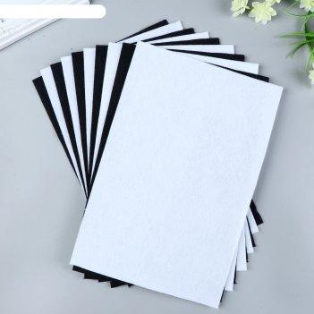 Набор  фетра (мягкий)  1 мм 20х30 см 10 листов цв. белый,черный