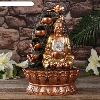Фонтан настольный от сети, подсветка будда у скалы с водопадом 40х27х27 см