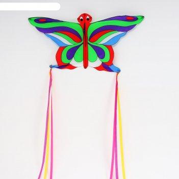 Воздушный змей бабочка с леской, цвета микс