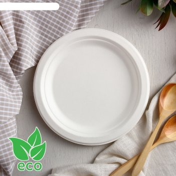 Тарелка из сахарного тростника eco, круглая, d 172мм, h 17мм, 50 шт/уп.