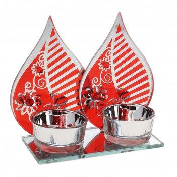 Подсвечник на 2 свечи листик с узором, цвет красный