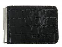 Зажим для денег+карман для мелочи, натуральная кожа, черный крокодил
