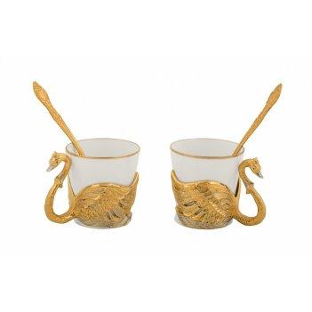 Набор кофейный лебеди ( 2 чашечки, 2 ложечки ) златоуст
