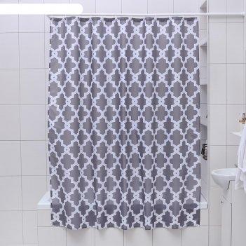 Штора для ванной марокко, 180*180 см, серый цвет, полиэстер