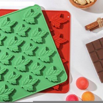 Форма для льда и шоколада «кленовый сироп», 18 ячеек, 19,5x17,7x1 см, цвет